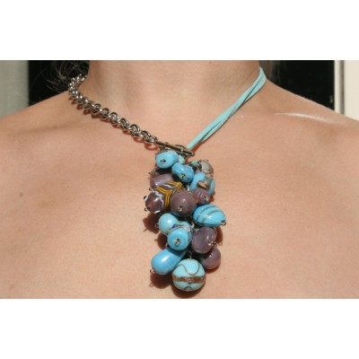 Fancy Bead Glass - Turquoise / Paars