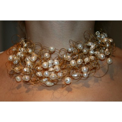 Zoetwaterparel krulketting met 20 strengen - Wit parels en Golden Shadow Swarovski Crystal